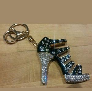 Barbie Black & Crystal Stiletto Boot Key chain